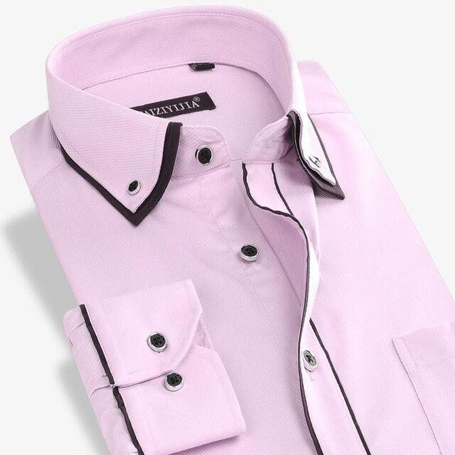 Мужчины Твердые Бизнес Рубашки С Длинным Рукавом Бренд Моды Формальный Бизнес Случайный Рубашки Мужчины Плюс Размер 4XL Высокое Качество