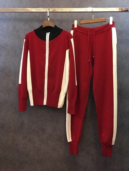 2018 Hot Sale Polyester Full O-neck Drawstring New Women's Set Zipper Sweater And Casual Pant Suit Two-piece Women Tracksuit