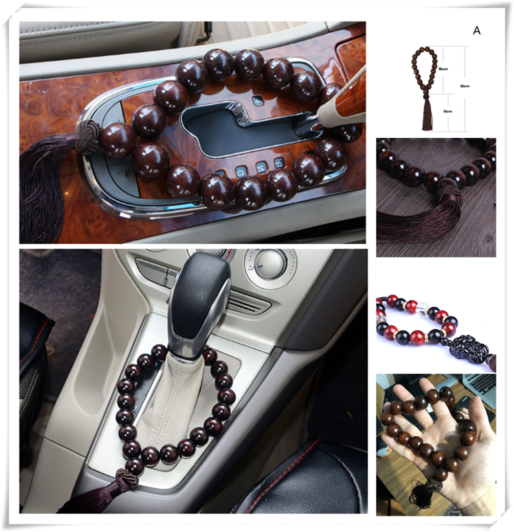 Car large black wood stall beads bead interior jewelry ornaments for BMW 530Li 335i 750i 330i 325i 320si 630i E34 F10 F20 image