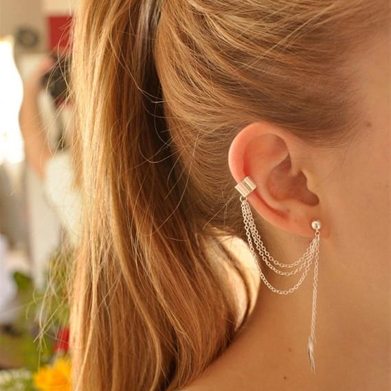 2019 Hot Women's Fashion Long Statement Earrings Multi-layer Metal Chain Tassel Leaves Drop Earrings For Women Jewelry 1 Pcs