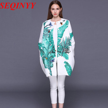 Profile Coat 2016 Early Autumn New Fashion Nice Palm Leaves Print Button Long Sleeve Dragonfly Beading Woman Coat