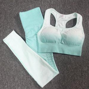 Image 2 - Ombre Set 2 Piece Workout Set Women Seamless Yoga Set Sportswear Fitness Clothes For Women Gym Clothing Gym Leggings Sports Set