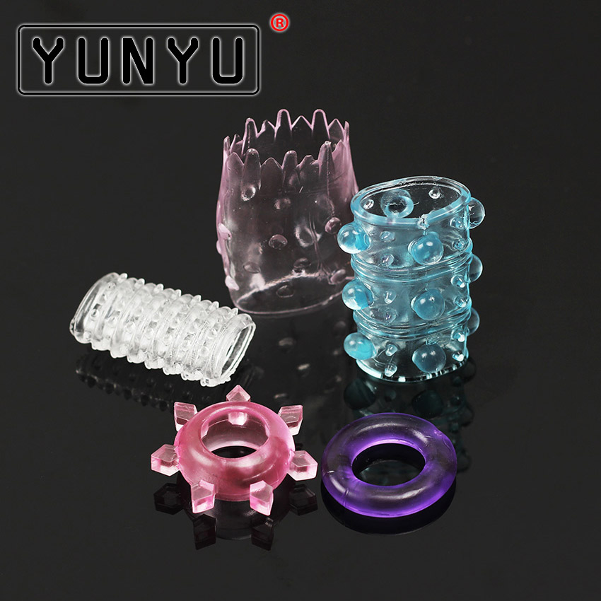 5PCS Different Silicone Penis Ring For Couple Adult Penis Cock Ring Chastity Penis Sleeve Delay Ejaculation Sex Toys