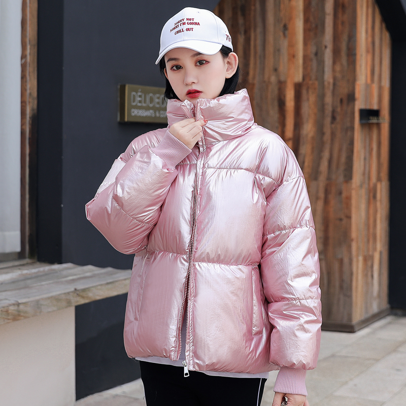 2019 New Women Winter Jacket Shining Fabric Stand Collar Fashion Female Padded Coat Short Outwear   Parka   Hot Sale