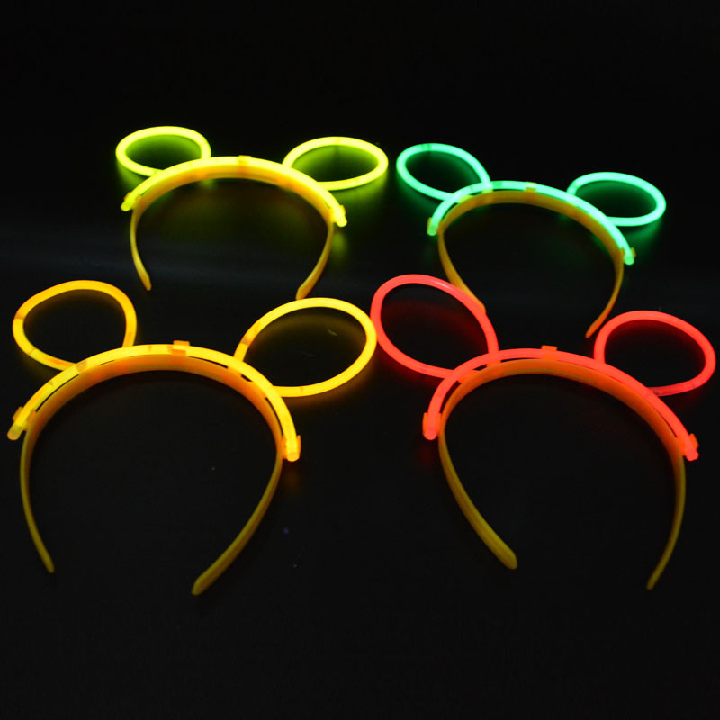 Women Girls Glow Stick Bunny Ears Headband Glow Sticks