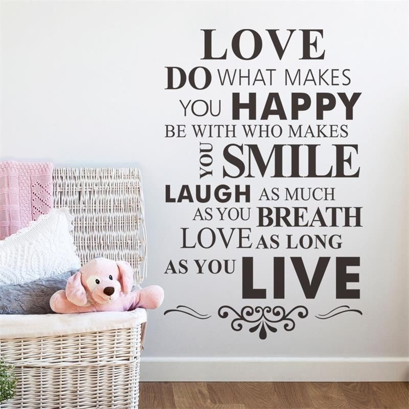 Home Decor Quotes zooyoolive laugh love wall stickers home decor quote 3d butterfly wall decortransparent border 5070cm zy1002 Wall Stickers Home Decor Quotes Love Is What Makes