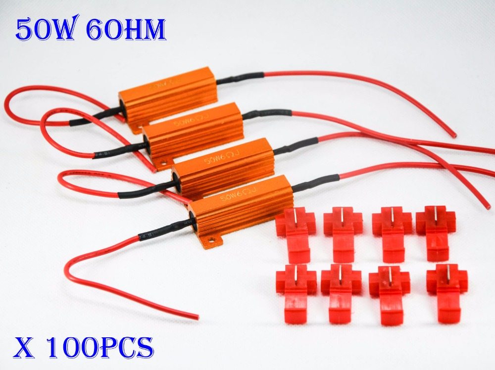 100PCS 50W 6ohm Gold Fuse LED Bulbs High Power Fog Turn Brake Signal Load Resistor Wiring Canbus No Error Fix Flash Blink Hyper