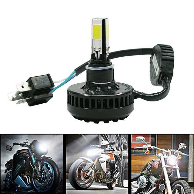 1 UNIDS Motocicleta Bombilla Del Faro H4 9003 HB2 4 COB Coche de Alta Baja haz 24 W 3500LM 6000 K DC12V 24 V Lámpara de La Niebla Brillante Envío Gratis Nuevo