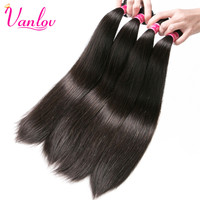 Vanlov Hair Products Peruvian Straight Non Remy Hair Weft Nature Color 100 Human Hair Weaving 8