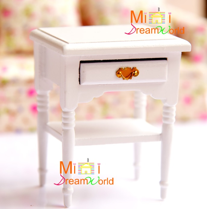 MINI Doll house Mini furniture accessories model bar-shaped handle pure white bedside table small side table