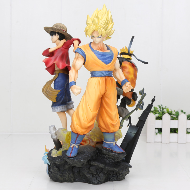 25cm 3 in 1 Dragon ball super saiyan goku One Piece Luffy Naruto PVC Action Figure Toys