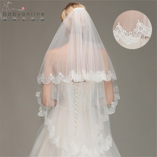 Veu de Noiva Lace Edge Short Wedding Veil with Comb White Iv
