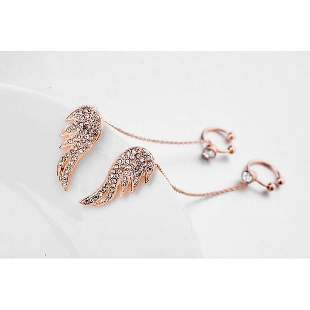 Rose Gold Angel Wing Earrings Studs