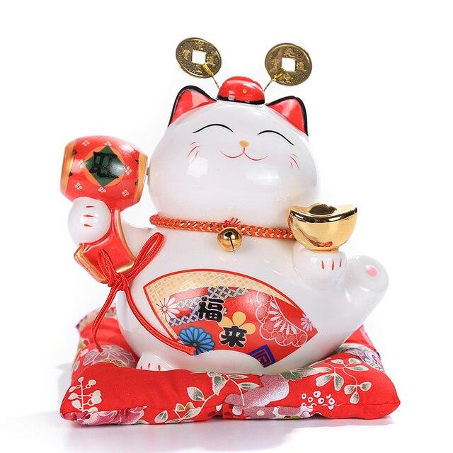 6 inch Maneki Neko Ceramic Lucky Cat Home Decor Porcelain Ornaments Cute Fortune Cat Money Box Fengshui Crafts 1
