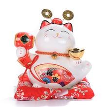 6 inch Maneki Neko Ceramic Lucky Cat Home Decor Porcelain Ornaments Cute Fortune Cat Money Box Fengshui Crafts