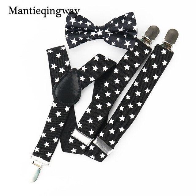 8f665ca0c6d Mantieqingway Child Elastic Suspenders Black White Star Pattern Braces Belt  Strap Fashion Adjustable Suspender Kids Bow Tie Set