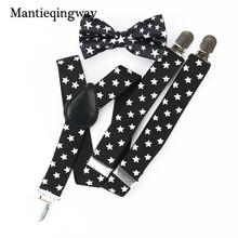 Mantieqingway Child Elastic Suspenders Black White Star Pattern Braces Belt Strap Fashion Adjustable Suspender Kids Bow Tie Set