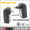 Xinray qualidade injetor poe para a câmera de cctv ip eua ou ue power over ethernet injector poe switch ethernet adapter poeb48e