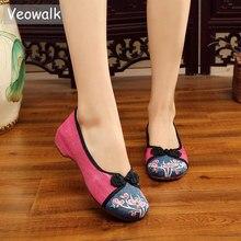 Zapatos planos de Ballet hechos a mano informales de lino y algodón con bordado, zapatos planos de lona suave Vintage para mujer