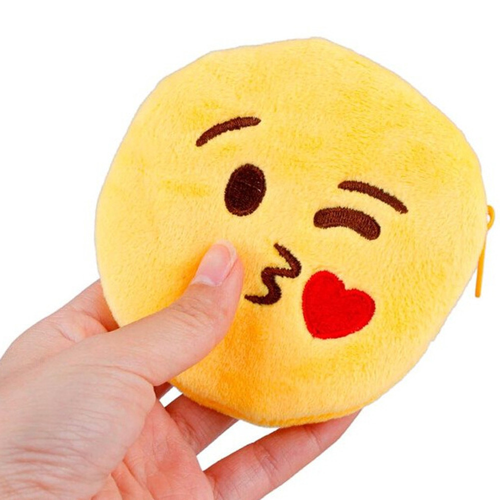 Girl Wallet Bag Ladies Cute Emoji Smiley zipper Mini Coin Purses Chain Children purse plush bolsa de moeda coins pouch monedero 2017new coin purses wallet ladies 3d printing cats dogs animal big face fashion cute small zipper bag for women mini coin purse