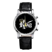 Новинка; обувь для костюмированных вечеринок в стиле King queen кожаные часы женские для влюблённых кварцевые часы Для мужчин Роскошные брендовые наручные часы мужские и женские кварцевые часы для влюблённых