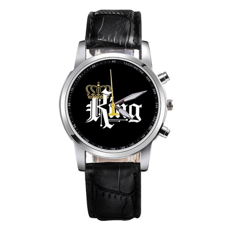 New King Queen Leather Watches Women Lovers Quartz Watch Men Brand Luxury Wristwatch Female Male Quartz Lover`s Watches