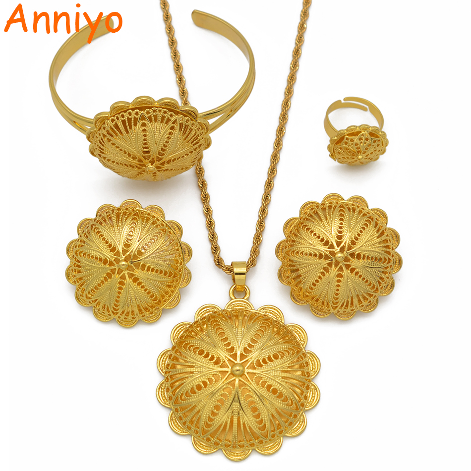 Anniyo Ethiopian Jewelry sets Pendant Necklaces Earrings Ring Bangles for Womens Gold Color Eritrean African Bride Gifts #207506 2