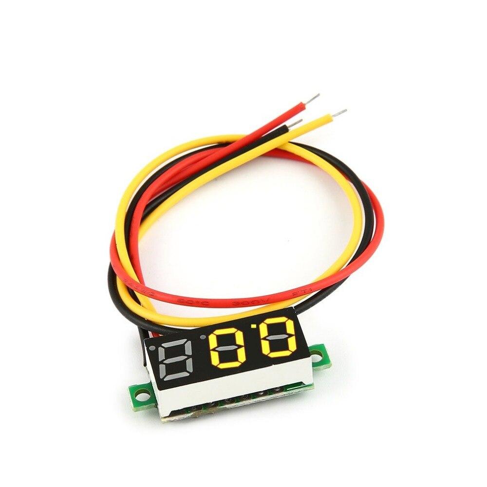 0-100 в 0.28in 3 светодиодный провода светодиодный цифровой дисплей Панель вольтметр Электрический Напряжение метр Вольт тестер для авто Батаре...