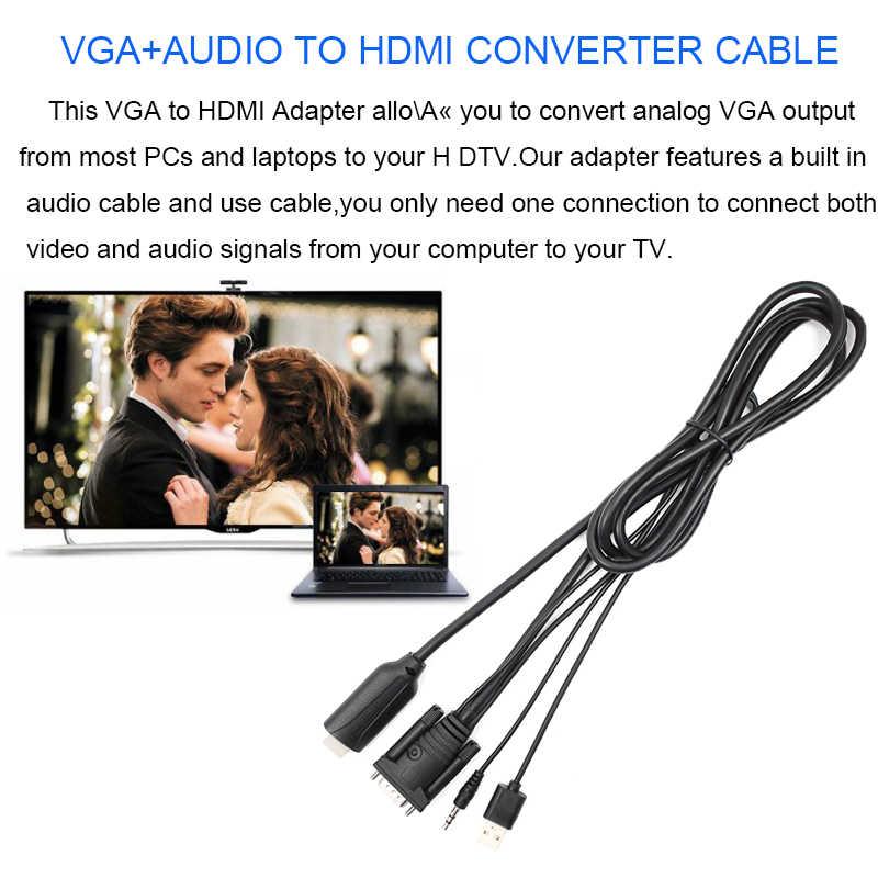 VGA Ke HDMI Converter Adaptor dengan 3.5 Mm Audio USB Power 1080P Vga HDMI Kabel Adaptor Konektor untuk PC LAPTOP untuk HDTV Proyektor