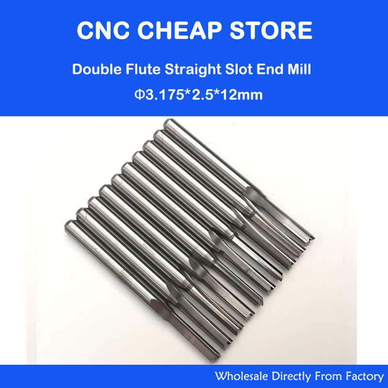 10pcs 3.175mm CED 2.5mm CEL 12mm Straight Slot Bit Wood Cutter CNC Solid Carbide Two Double Flute Bits CNC Router Bits