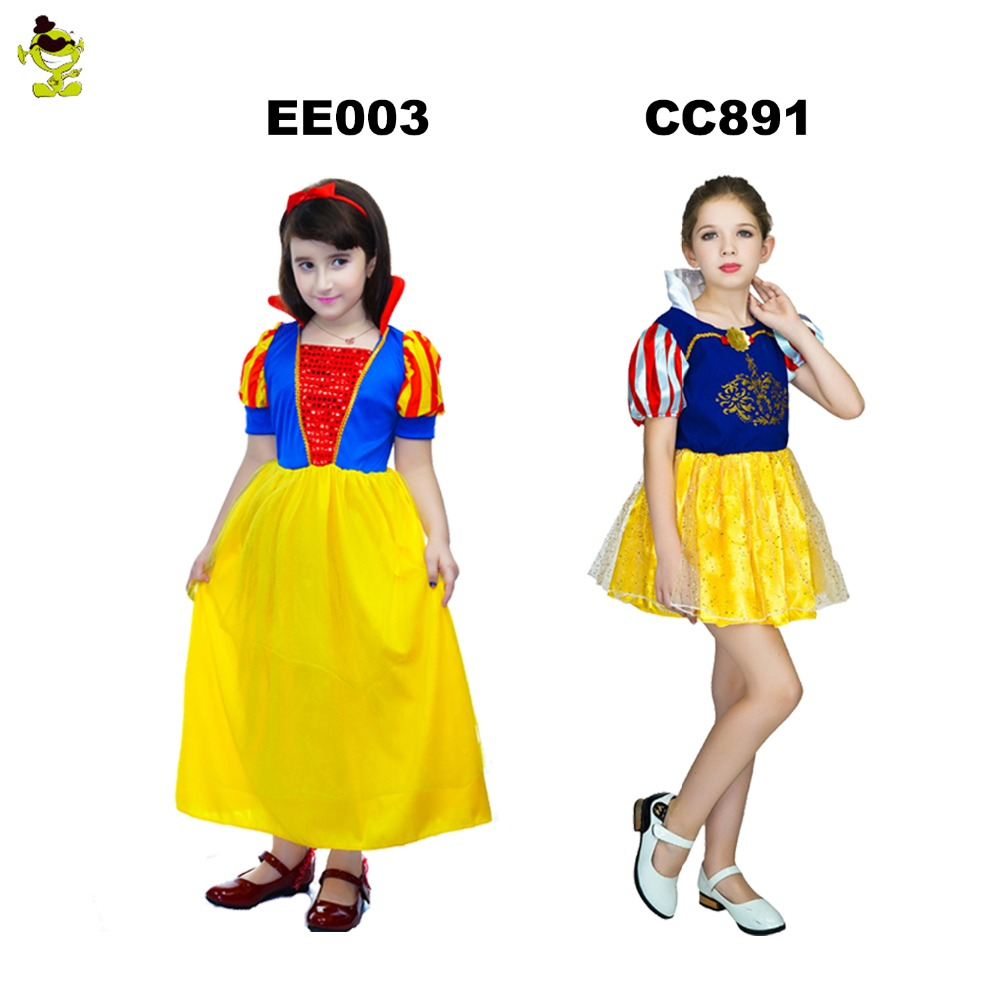 New Design Fairy Tale Snow White Costumes Kids Elegant Princess Role Play Fancy Dress For Girs Halloween Purim Holiday