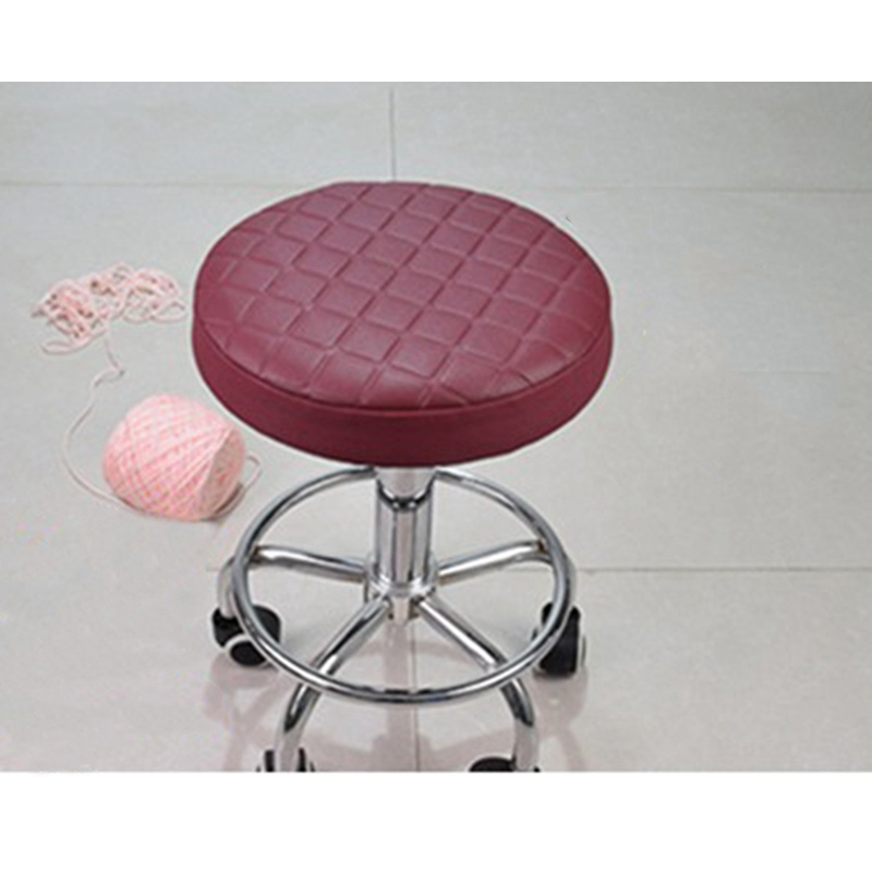 Covers for Bar Stools Round Chair Cover Stool Slipcover Elastic Seat Cover Plaid Home Dustproof Slipcover Solid Color