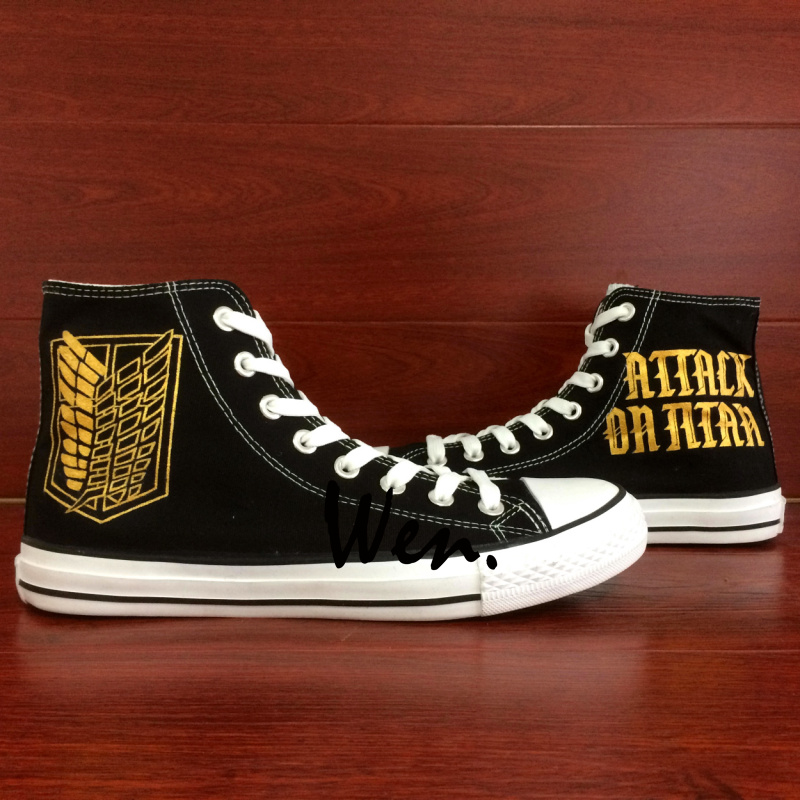 Wen Anime Hand Painted Shoes Design Custom Sneakers Attack on Titan High Top Black Canvas Sneakers for Men Women's Gifts