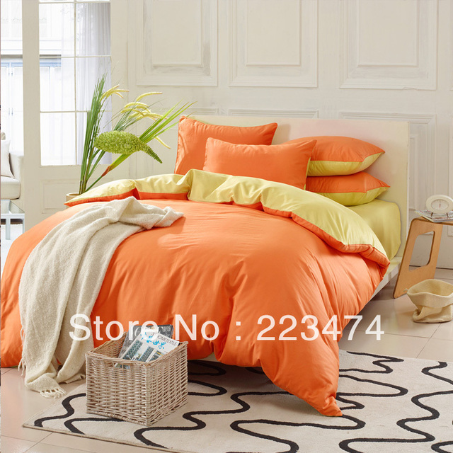 Free shipping!HOT!100% cotton orange and purple duvet cover bed sheet Queen/king Size  comforter set bedding set for wedding