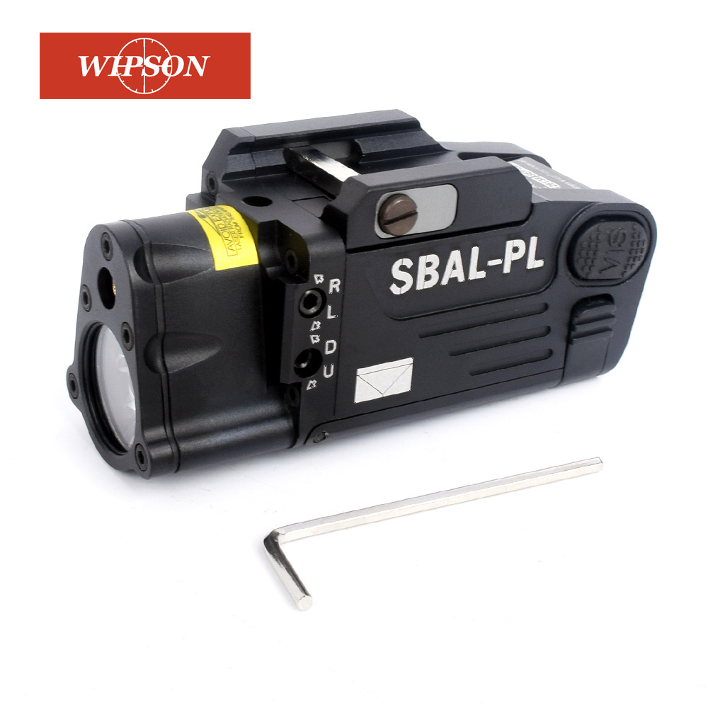 WIPSON CNC Finished SBAL-PL Weapon Light Constant & Strobe Light With Red Laser Pistol Rifle SBAL Sbal Flashlight Free Shipping