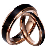 1 Pair Black Tungsten Carbide Wedding Band Rose Gold Plated Coupe Lovers Rings Set Without Stone