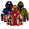 Розничная детские Пальто мальчиков Железный Человек Капитан Америка толстовки куртки Детские Мультики Детская Одежда Верхняя Одежда для Весна Осень