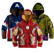 Retail Children's Coat boys Iron Man Captain America hoodies jackets Kids Cartoon Clothes Baby Outerwear for Spring Autumn