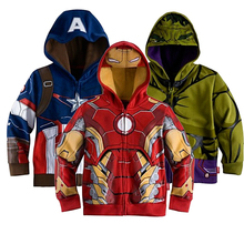 Retail Kids's Coat boys Iron Man Captain America hoodies jackets Children Cartoon Garments Child Outerwear for Spring Autumn