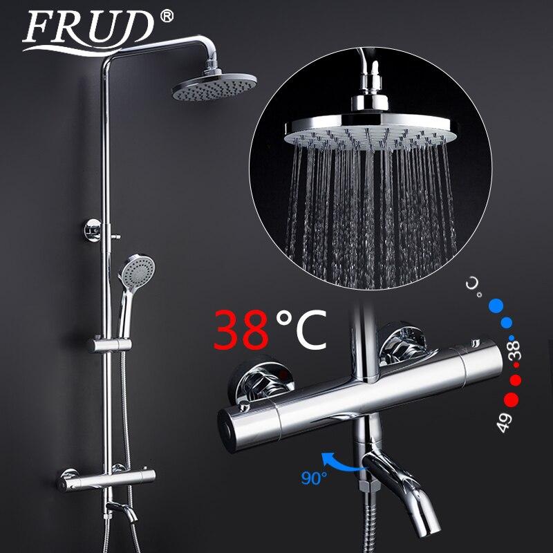 FRUD robinet de douche salle de bains pluie pomme de douche ensemble thermostat robinet robinet cascade thermostatique douche mitigeur robinets