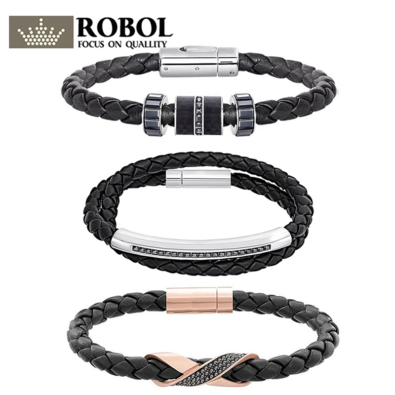 ROBOL 2018 New Cross Signature Mens Black Leather Band Bracelet 512521 Fashion Gift Leather Knit 5159648 5115156 5252387ROBOL 2018 New Cross Signature Mens Black Leather Band Bracelet 512521 Fashion Gift Leather Knit 5159648 5115156 5252387