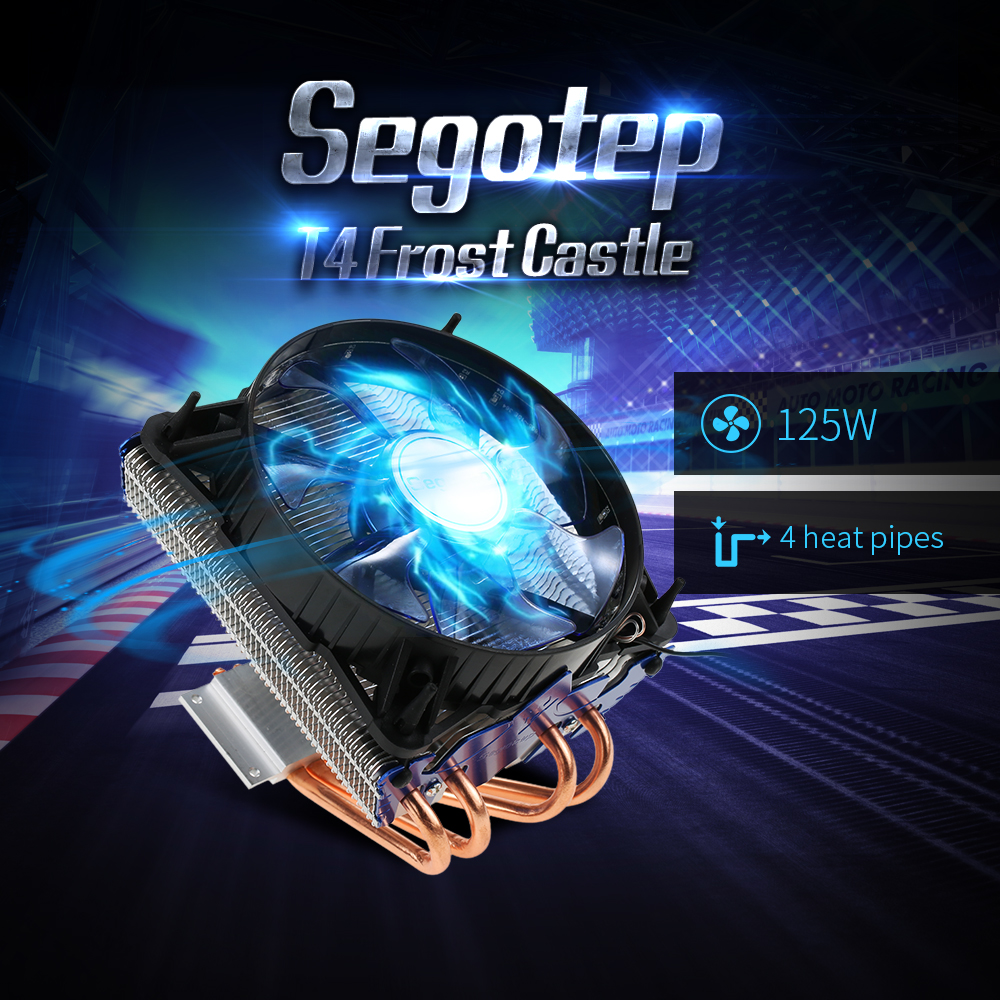 Segotep T4 Frost Castle Cooling System CPU Cooler LED Lights 4 Heatpipes 4 Pin PWM 12mm Fan 1800RPM for Intel AMD CPU PC Case segotep t4 frost castle cooling system cpu cooler led lights 4 heatpipes 4 pin pwm 12mm fan 1800rpm for intel amd cpu pc case