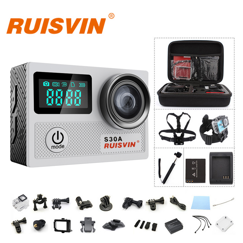 """bilder für Original RUISVIN S30A 4 Karat WIFI Volle HD 1080 P 60FPS 2,0 """"LCD Action Kamera 30 Mt Tauchen Gehen Wasserdicht Pro Kamera Ultra HD Sport Cam"""