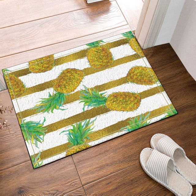 Golden Pineapple Bath Rugs Bathroom Entryways Outdoor Indoor Front Door Mat  60x40cm