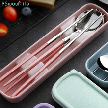 304 Stainless Steel Chopsticks Spoon Set Fork Creative Adult Portable Korean Tableware Students Outdoor Tableware Cutlery Set creative fashion smile hollow spoon stainless steel chopsticks cutlery gift set