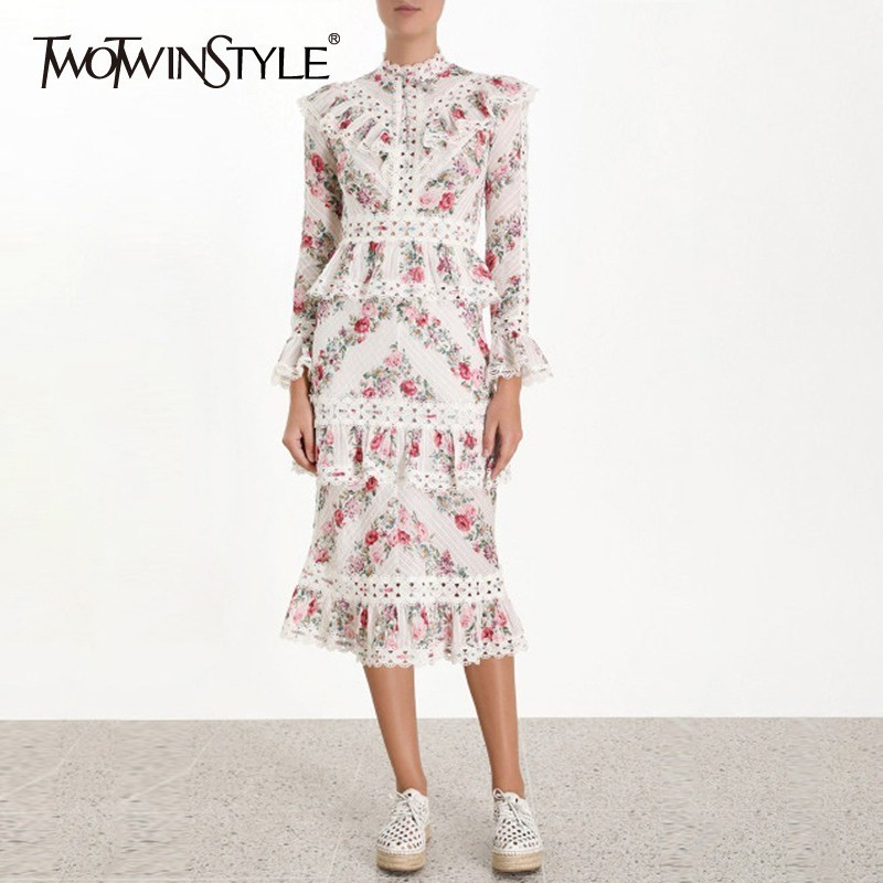 TWOTWINSTYLE Vintage Print Women Dress Stand Collar Flare Sleeve High Waist Hollow Out Ruffles Midi Dresses