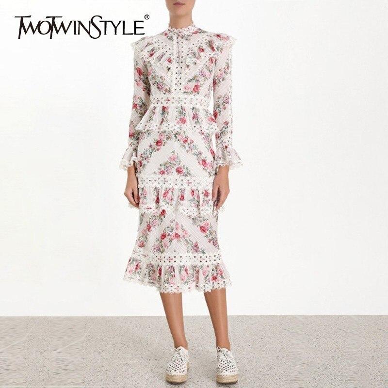 TWOTWINSTYLE Vintage estampado vestido de mujer cuello alto manga acampanada cintura alta ahueca hacia fuera volantes vestidos Midi moda femenina 2019-in Vestidos from Ropa de mujer    1