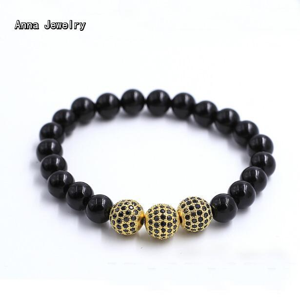 2cb5b53b6 Classic Fashion Black Onyx Beads Charm Chain Bracelet,8MM Onyx Beads with 3  Paved Stones Balls.Vintage Cuff Bracelets For Women