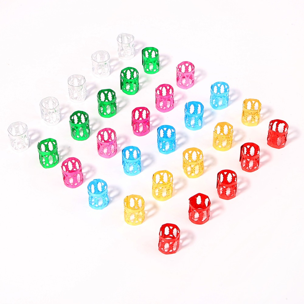 50pcs Mix Color Hair Braid Polished Multiple Hard-wearing Easy To Use Cuffs Rings Hair Jewelry Pendants Styling Tool Accessories