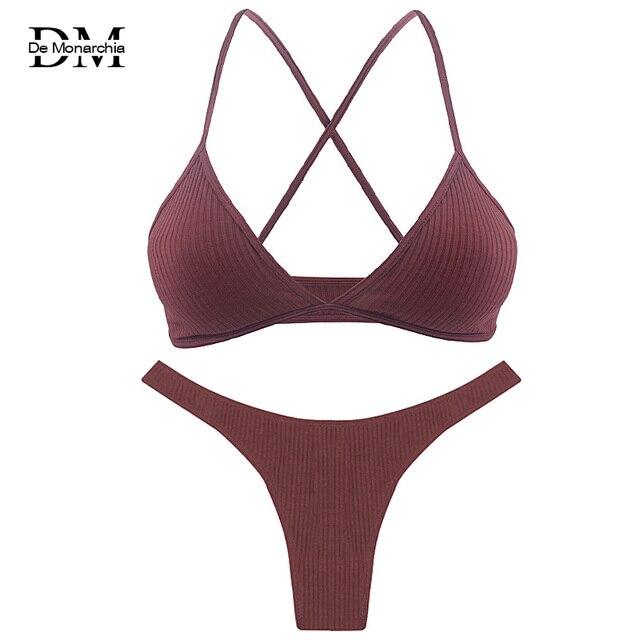2020 מכירה לוהטת נשים הלבשה תחתונה סט מוצק צבע V צוואר גבירותיי Bralette חוטיני סט פסים כותנה צלב חזרה נשי תחתוני סט